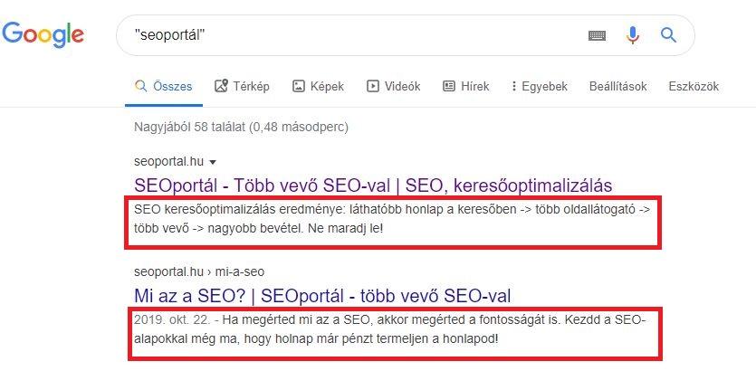 Meta description Seoportál