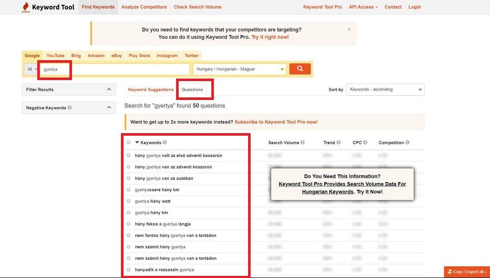 Keyword Tool kulcsszo kereso kerdes lista
