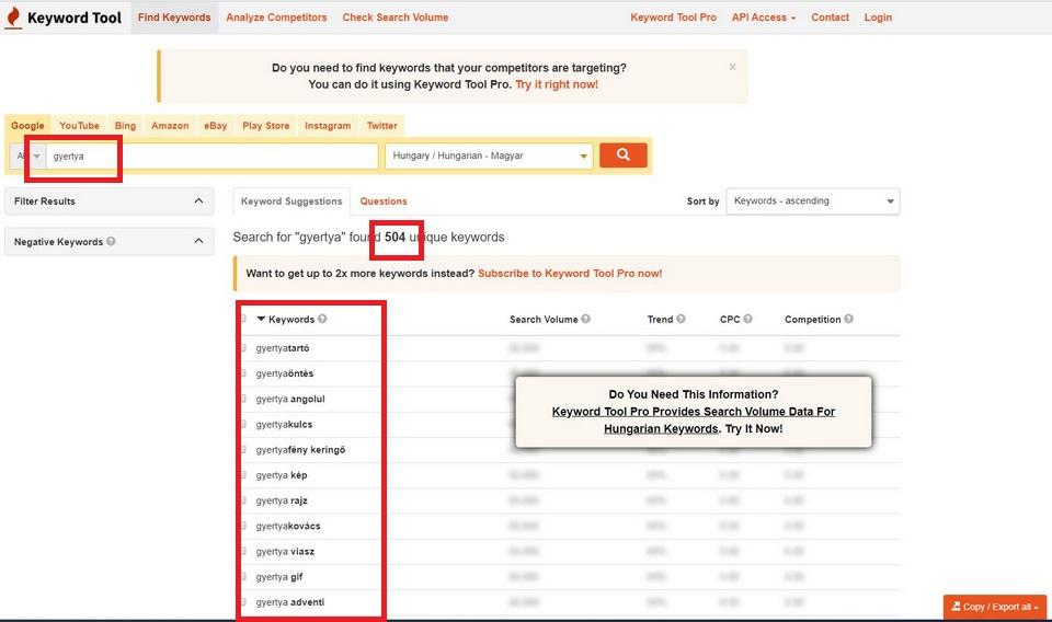 Keyword Tool kulcsszo kereso talalati lista