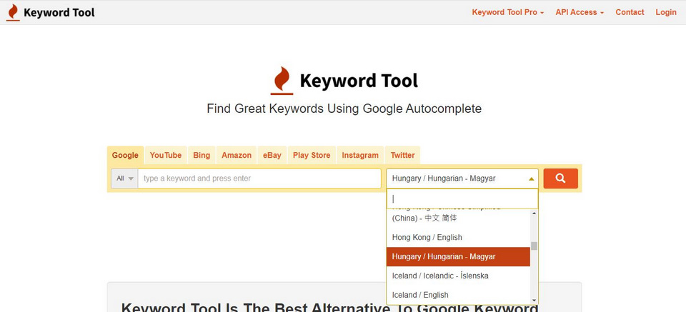 Keyword Tool magyar nyelvu kereses